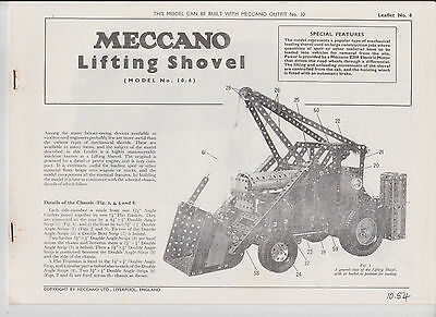 Meccano No 10 L:eaflet  No 6 L:ifting Shovel