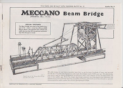 Meccano No 10 leaflets  No 8 Beam Bridge