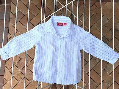 Sprout baby toddler boys button up shirt Size 1 white blue red stripes Cotton