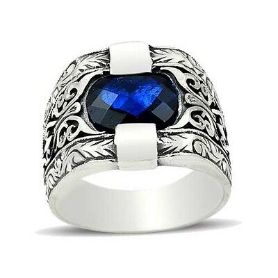 Turkish Handmade 925 Sterling Silver Sapphire Mens Ring Sz 11 Us Free Resize 385