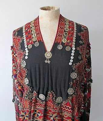 Afghan Nuristan antique dress Jumlo cotton wedding embroidered coins rare