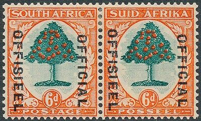 1935 South Africa 6d Green & Orange Official Overprint SGO16w MH CV£110