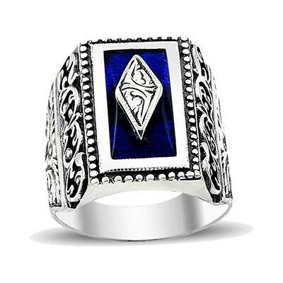 Turkish Handmade 925 Sterling Silver Sapphire Mens Ring Sz 11 us Free Resize 025
