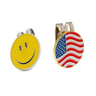 New 2pcs Alloy Magnetic Hat Clip with Golf Ball Markers Assorted Patterns