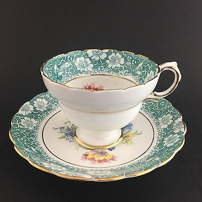 Rosina Footed Teacup And Saucer Bone China Made In England Blue Pink Floral Gold
