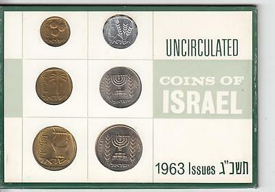 Coins of Israel 1963 Mint set, 6 uncirculated coins, Private Issue