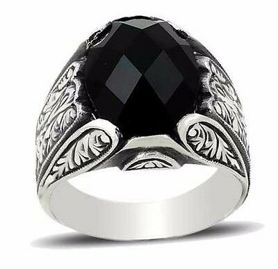 Turkish Handmade 925 Sterling Silver Onyx Mens Ring Sz 11 us Free Resize 330