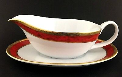 Royal Heritage Collection Gravy Boat With Plate White Red Gold Gilding