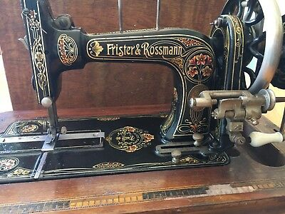 Antique Frister & Rossmann sewing machine Red Lillies (not Singer) & Accessories