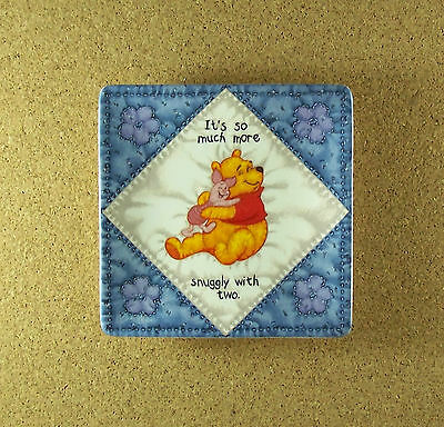 Hundred Acre Wisdom MORE SNUGGLY WITH TWO Winne the Pooh Square Quilt Plate #1