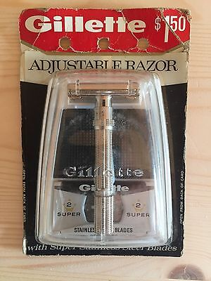 Vintage Gillette Slim Adjustable New Old Stock In Original Package Unopened