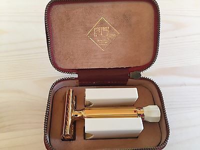 Vintage Hoffritz Gold Double Edge Safety Razor Adjustable New Old Stock