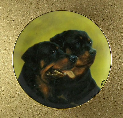 Rottweilers PERFECT PAIR Plate Dog Puppy John Silver Danbury Mint Charming!