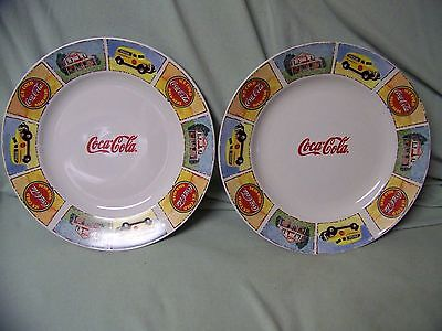Set of 2 Coca-Cola Plates Marketed by Gibson large 12 inch plates USA Flag
