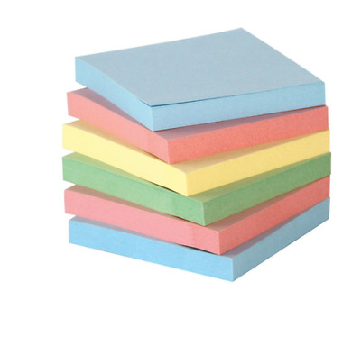 School Smart Removable Self-Stick Note, 3 X 3 in, Assorted Pastel Colors, 100