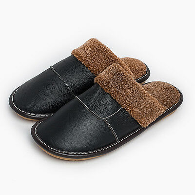Mens Home Slippers Cow Leather Non-Slip Thick Fur Lining House Shoes for Lovers