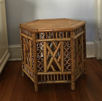Palm Regency Chinoiserie Rattan Bamboo Side Table