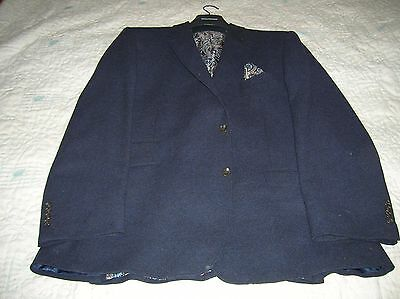 """Navy Blue Formal Wool Coat/Jacket with Paisley Lining (Greenwoods, 46-48"""" Chest)"""