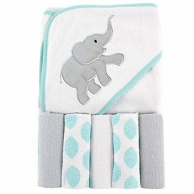 Luvable Hooded Friends Towel Animal Face Baby Washcloth New Blue Terry Elephant