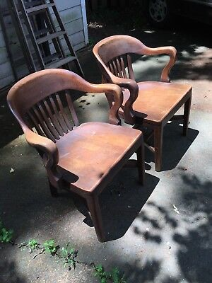 Antique Lawyers Bankers Courtroom Chairs