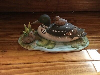 "Vintage 1987 ""Common Loon w/chicks"" By Andrea Sadek ~Porcelain ~ 7841"
