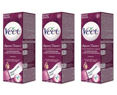 3 x VEET SUPREM ESSENCE HAIR REMOVAL CREAM BIKINI UNDERARM VELVET ROSE OILS 90ml
