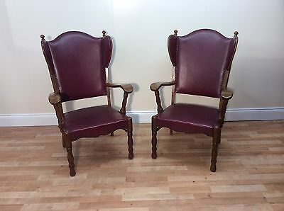 Pair Of Traditional Oak Framed Vintage Style Wingback Leather Armchairs