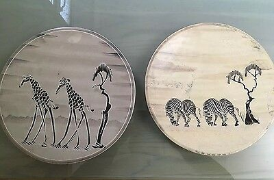 2 Hand Carved African Decorative Plates - Giraffes & Zebras