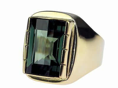 Art Deco Herren Siegel 333 Gelb Gold grüner Turmalin Ring antik 10,0 gr