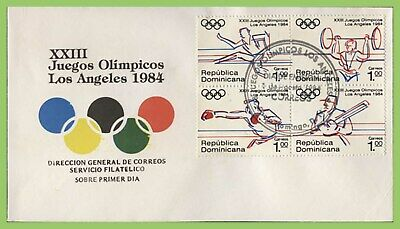 Dominican Republic 1984 Olympic Games, Los Angeles set on First Day Cover