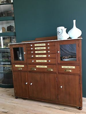 Antique Medical Dentist Cabinet Cupboard Drawers Chest Apothecary Haberdashery