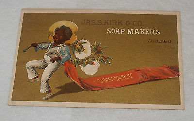 Antique Victorian Advertising Trade Card Jas Kirk Soap Makers Black Americana