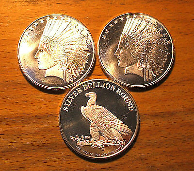 1 - 1 oz - Indian Head - Eagle Silver Round  .999 Fine Silver