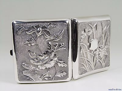 BEAUTIFUL 19thC CHINESE Solid STERLING SILVER BIRDS & PEONIES CIGARETTE CASE