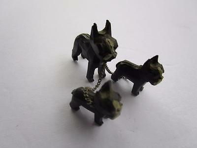 Vintage Boston Terrier Chained Dog Puppies Plastic Figurine Made in Japan