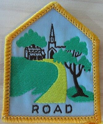 Brownie Girl Guide Historic Journey Badge - Road yellow border