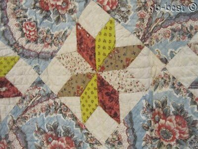 Prussian Brillant Blues! 1820/30s Star Chintz QUILT Antique FOR Study Lecture