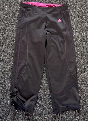 Ladies Adidas Climalite black and Pink 3/4 fitness leggings UK 8