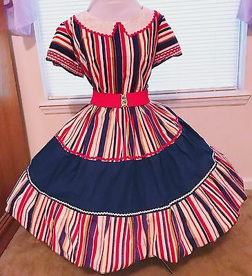 Square Dance Dress 2 Pc Kiti  Red, Navy Blue And White With Ric Rac Plus 1X