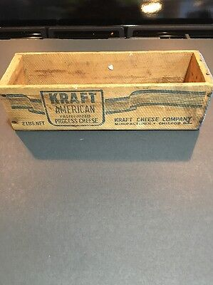 VTG KRAFT Chicago CHEESE CORP AMERICAN PASTEURIZED PROCESS CHEESE 2 LB WOOD BOX