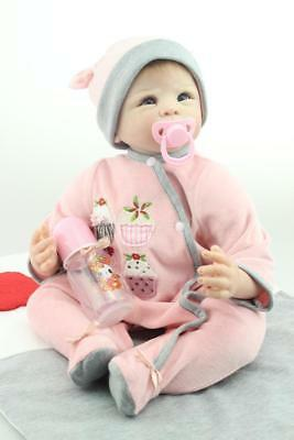 22''Handmade Simulation of baby dolls Silicone Vinyl Reborn +Clothes