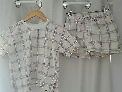 Plaid cream and blue shirt and short set co-ord