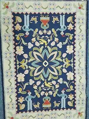 Antique Handmade Flat Weave Folk Poland Rug Dutch Flowers Animals Blue Fringe