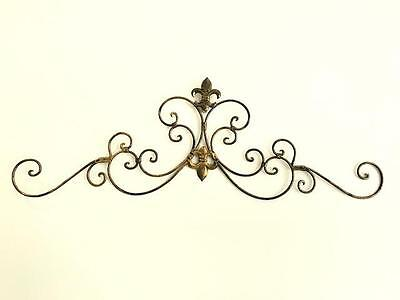 French Style Iron Scroll Fleur De Lis Grill /Wall Art /Mural 90cm Antique Gold