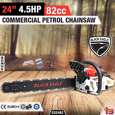 "NEW Black Eagle 82cc Petrol Commercial Chainsaw 24"" Bar E-Start Pruning Chain Sa"
