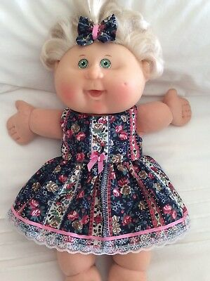 "DOLLS CLOTHES made to fit 14"" CABBAGE PATCH DOLL - Dress & Hairbow Roses Stripes"