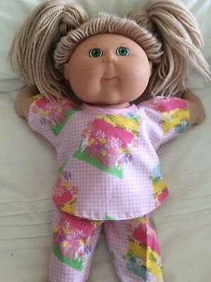 "DOLLS CLOTHES fit 16"" CABBAGE PAYCH DOLL - Pyjamas. Pink Check Kittens"