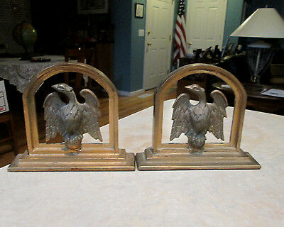 Pair Of Heavy Antique Metal Eagle  Book Ends