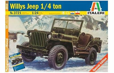 New Italeri Models 1:24 Willys Jeep With Prm Kit Plastic Scale Military Vehicles