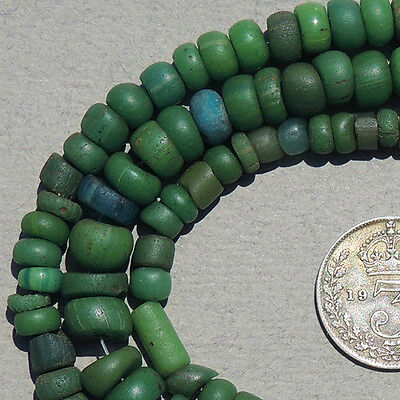 19.5 inch 49.5 cm strand  ancient green djenne glass beads mali #147